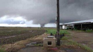 Man films formation of tornado in Kansas
