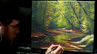 Acrylic Landscape Painting of a Forest Stream - Time Lapse - Artist Timothy Stanford