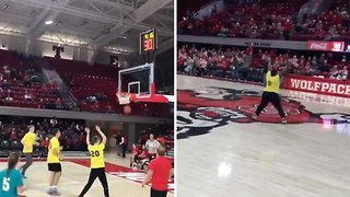 Uplifting moment down syndrome athlete hits three pointer during halftime show sending crowd wild