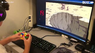 Boy solves Rubik's cube in under 10 seconds