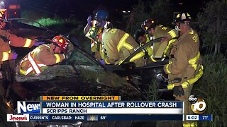 Woman rescued from car after rollover crash in Scripps Ranch