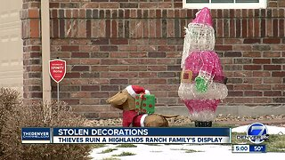A Highlands Ranch family's Christmas decorations were destroyed for a third year