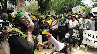 Bathabile Dlamini speaks to the crowd about equal employment