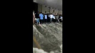 Heavy floods send water rushing into hospital parking lot in India