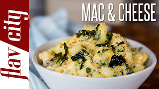 Mac & Cheese Casserole with Bacon & Kale