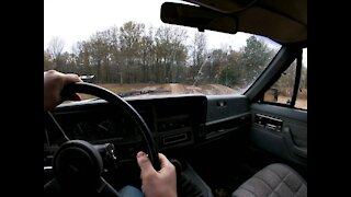 13 year old driving XJ in the woods