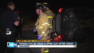 Woman pulled from flipped SUV after crashing in Rolando
