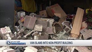 Van slams into non-profit building
