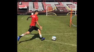 Training skills at the stadium with Thailand national team player Charyl