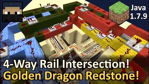 Golden Dragon 4-Way Rail Intersection! Minecraft Java 1.7.9