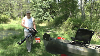 Nucanoe Frontier 12 kayak with outboard motor for hunting and fishing