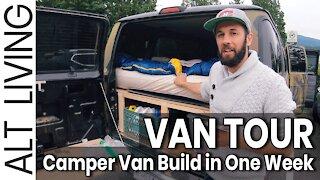 Van Life build in ONE week? Van Tour: French brothers living in a van. North America off grid