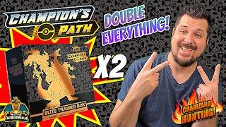Champion's Path Elite Trainer Box X2 | Charizard Hunting | Pokemon Cards Opening
