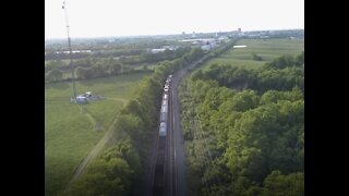 Aerial view of a Train running down the tracks