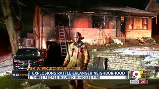 Three house explosions, fire send family to hospital