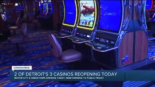 2 of Detroit's 3 casinos reopening Wednesday