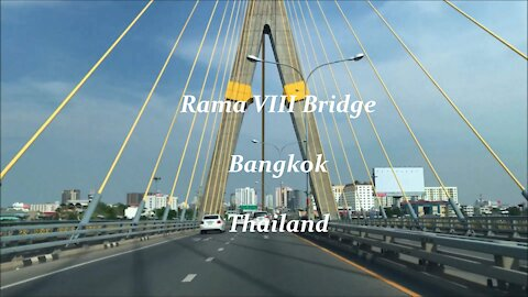 Rama VIII Bridge at Chao Phraya river in Bangkok, Thailand