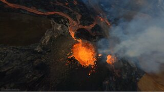 Mind-blowing drone footage captures volcanic eruption in Iceland