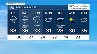 Cloudy, damp Friday ahead with chance for scattered snow showers and drizzle