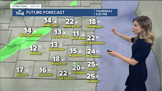 Rain showers move in Thursday afternoon
