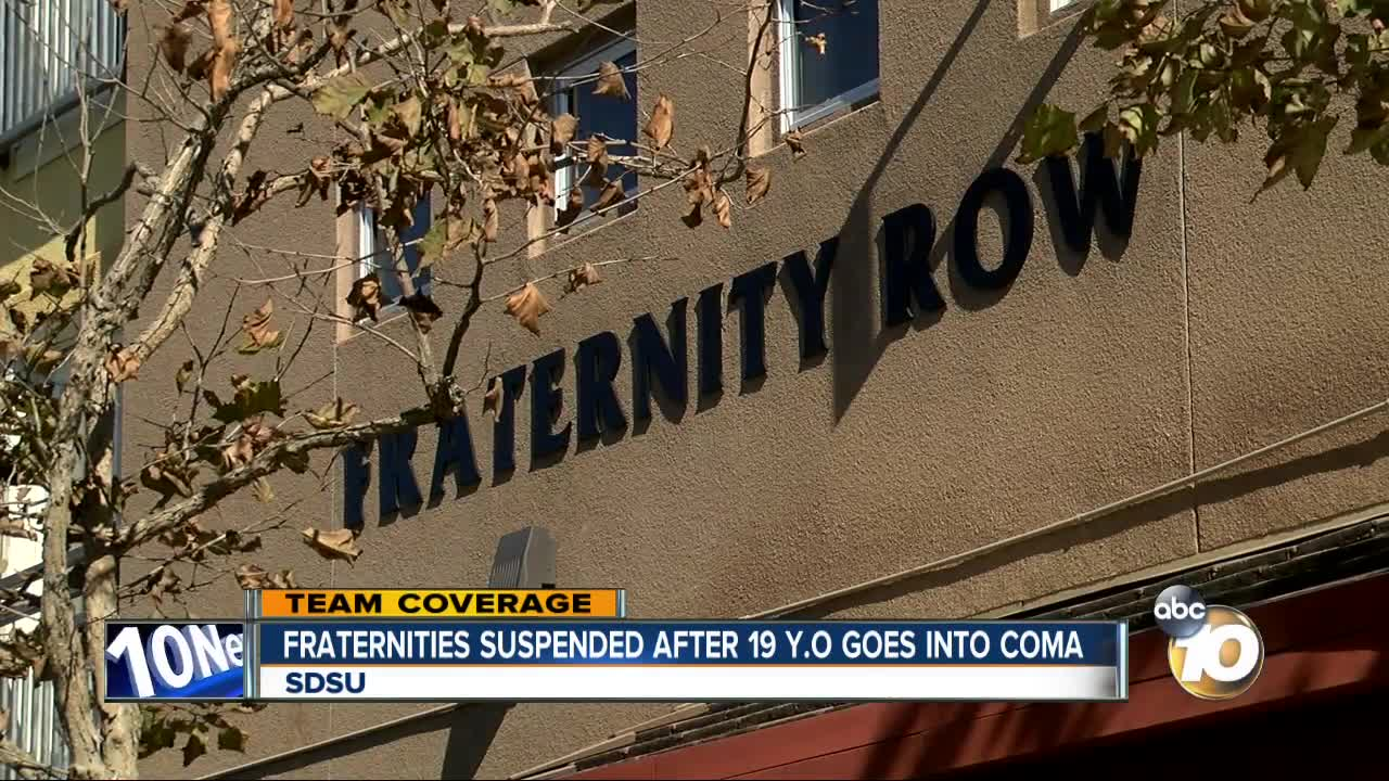 Fraternities suspended after 19-year-old goes into a coma