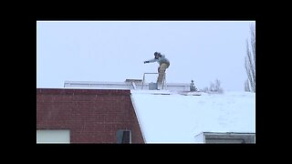 Epic Snowboarding Off Of A Roof Fail