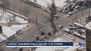Denver teachers march to Civic Center Park on Day 2 of teachers strike