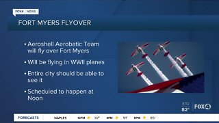 Aeroshell Aerobatic Team fly over