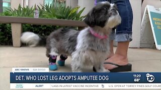 San Diego detective who lost leg adopts amputee dog