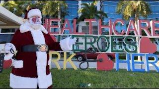 Santa Claus gets creative to greet patients at Bethesda Hospital East in Boynton Beach