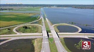 MAPA drone footage of I-680 & I-29 flooding