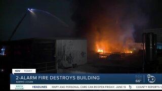 2-alarm fire destroys building