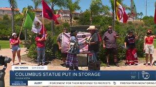 Columbus statue put in storage