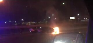 Firefighters in Las Vegas extinguish car fire in central valley