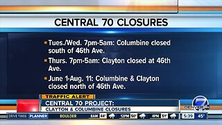 Traffic alert: Clayton & Columbine closures