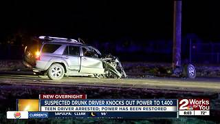 Driver arrested for DUI after slamming into power pole, knocking out power