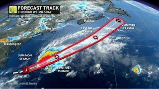 Tracking a tropical disturbance south of Atlantic Canada