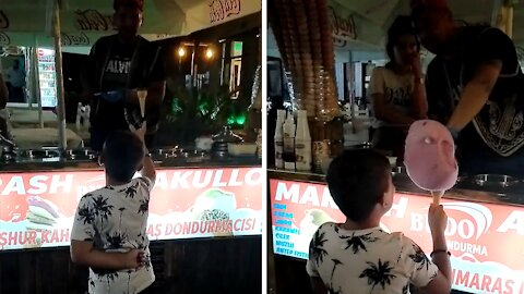 Kid gets trolled epic style by ice cream vendor