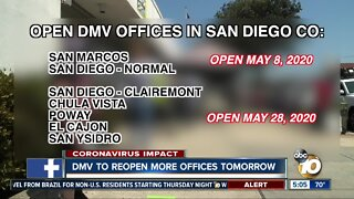 More San Diego DMV offices to reopen Thursday
