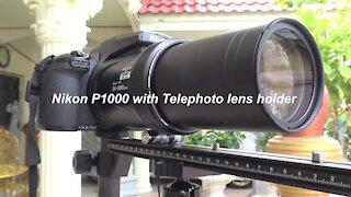 Telephoto lens holder for Nikon P1000 for tilting lens