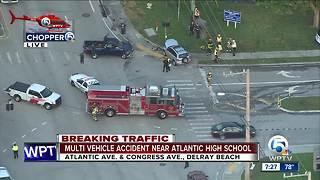 2 injured after crash outside Atlantic High School