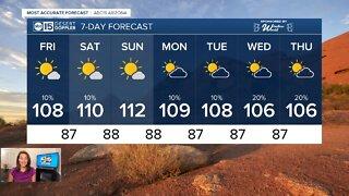 Monsoon moisture increasing into next week