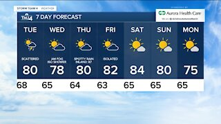 Tuesday is cloudy and humid with isolated showers