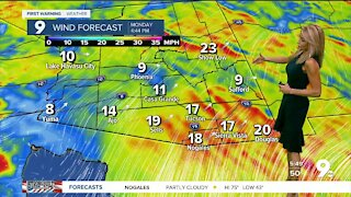 A breezy and cooler start to the week