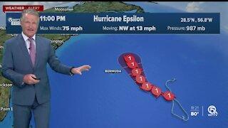 Tropical Storm Epsilon strengthens into hurricane