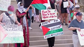 Protestors rally at capitol to show support for Palestine in Israel-Gaza conflict