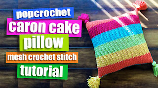 Crochet a Pillow for Beginners, Caron Cake Yarn using Mesh Crochet Stitch