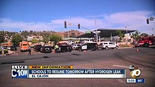 Schools to resume Thursday after hydrogen leak