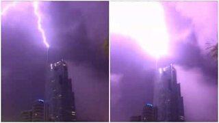 Brutal lightning strikes Australian skyscraper