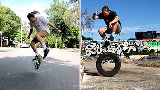 THIS INNOVATIVE SKATEBOARDER HAS BEEN USING NEW PROPS AND OBSTACLES INCLUDING A SKIPPING ROPE TO JUMP OVER WHILST SKATING